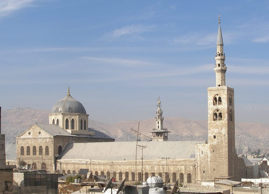 Minaret of Jesus (right), Umayyad Mosque in Damascus